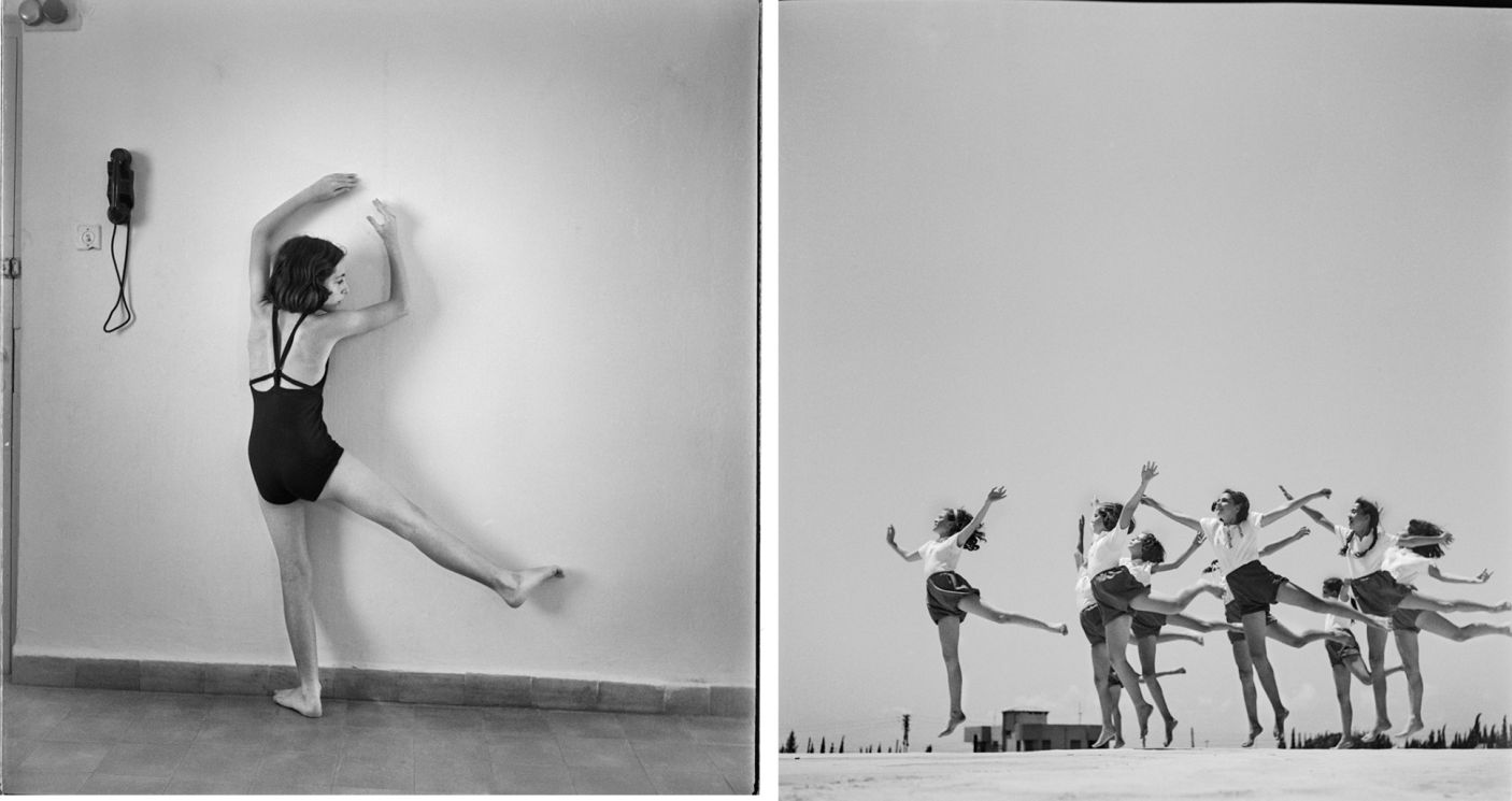 Gymnastics School, 1942 (Left), and Herzliya, 1941. Rudi Weissenstein photo