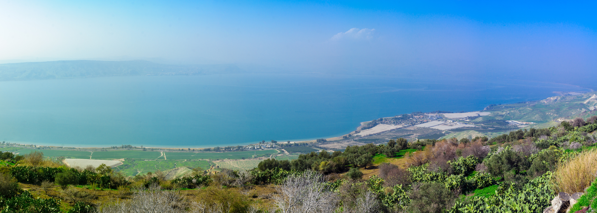 Panoramic view of the Sea of Galilee, from the east, Northern Israel