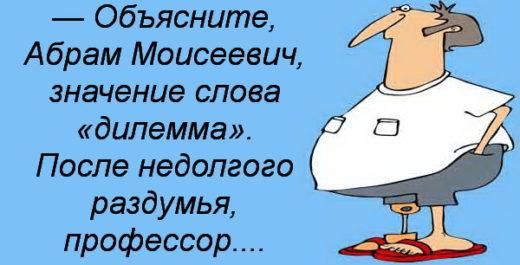 — Объясните, Абрам Моисеевич, значение слова «дилемма».После недолгого раздумья, профессор