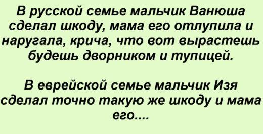 В русской семье мальчик Ванюша сделал шкоду, мама его отлупила и наругала, крича, что вот вырастешь будешь дворником и тупицей. В еврейской семье мальчик Изя сделал точно такую же шкоду и мама его