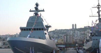 Новенький, супер-современный израильский корабль Sa'ar 6 красуются в порту Хайфы